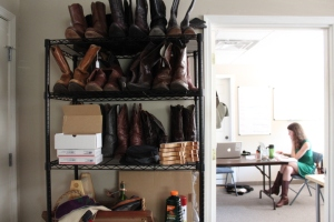 It should come as no surprise that Bourbon and Boots' office looks a bit like a shoe-shopping cowboy's dream.